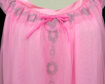 vintage 60s pink chiffon long nightgown floral lace trim  scooter girl mad men