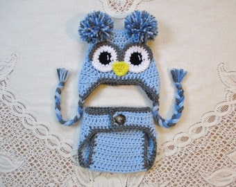 Shades of Blue and Grey Owl Hat and Diaper Cover Photo Prop Set - Photo Prop - Available in Newborn, 3 to 6, 6 to 12 and 12 to 24