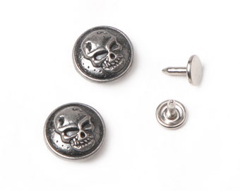 10 sets 17mm buttons denim No Sew  jean tack metal buttons   antique dark silver button fastener with manual - Skull