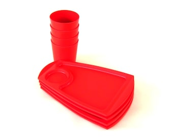 Red Plates Cups Christmas Party Supplies Fremware 811 808 1980s Mod Set Picnic Ware