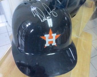 Vintage Baseball Houston Astros Batting Helmet Autographed Nolan Ryan Hall of Fame Pitcher Lucite Display Box COA