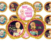 "1"" Bald Disney Princess Cancer Awareness Bottle Cap Image Sheets Party Favors Cupcake Topper Magnet Stickers Printables Instant Download."