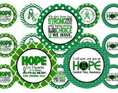 """1"""" Cerebral Palsy Awareness Green Ribbon Bottle Cap Image Sheets Party Favors Cupcake Topper Magnet Stickers Printables Instant Download."""