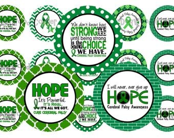 "1"" Cerebral Palsy Awareness Green Ribbon Bottle Cap Image Sheets Party Favors Cupcake Topper Magnet Stickers Printables Instant Download."