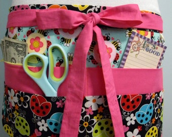 Teacher Aprons-Crafter Vendor Utility Apron-Ladybugs and Bees
