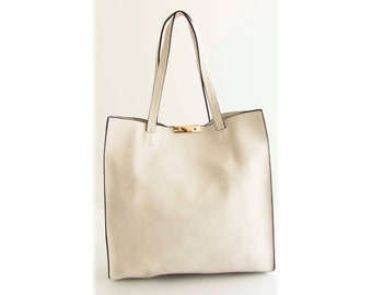Handmade Vegan Leather Bag Handbag Tote White - the Lahoise -  30% summer sale TRACBAG30OFF345