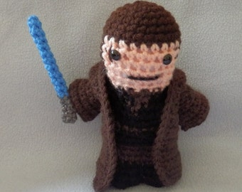 Made to order, Hand crocheted Star Wars like Anakin Skywalker with Lightsaber and Cloak Amigurumi Doll