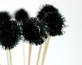 12 Black Pom Pom Drink Stirrers, Cocktail Drink, Party Supplies, Tinsel Drink Topper