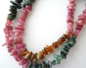 "Natural multicolor Tourmaline gemstone chips,jewelry beads-15.5"" length"