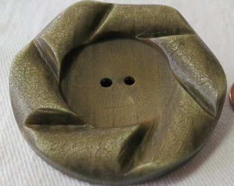 """Lrg, 1.75"""" ins 2 hole, nut or vegetable coat button, yellow green & brown wash, scroll, rolled rim, notched like  slices. PFM13.3-6.10-6."""