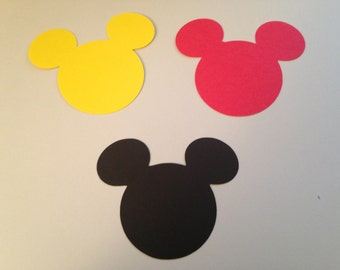 30 Large 3 inch Black Red Yellow Mickey Mouse Die Cut Punch Cutout Cupcake Topper Embellishment Scrapbook