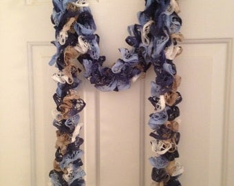 Handmade Hand Knitted Ruffle Scarf Lacy Boa Blue White Tan 76 inches
