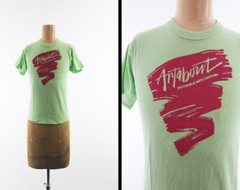 Vintage 80s Artabout Pittsfield MA T-shirt Lime Green Arts Festival - Small / XS