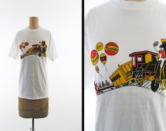 Vintage Tanglewood on Parade T-shirt 80s Symphony Festival Train Ride - Medium / Large
