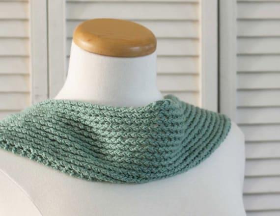 Knitting Pattern Scarf Summer Green Cotton