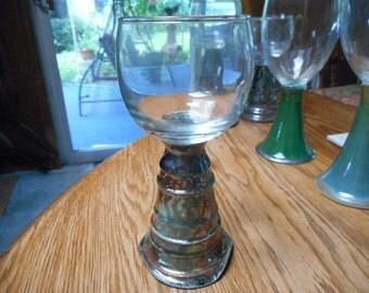 6 1/2 tall RAKU Pottery Stemmed FORGIVENESS GLASS Goblet