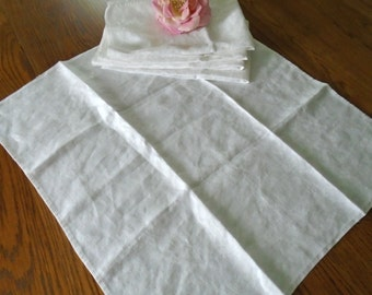 5 Pure Irish Linen Napkins / Made In Ireland / Damask Napkins / Double Damask / White Cotton Damask / Shamrock Images / Clover Images