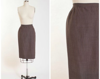 50s Vintage Skirt • Beatitude • Brown Wool Blend Vintage 1950s Pencil Skirt Size Small