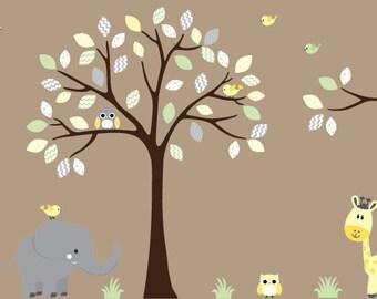 Nursery Decal Elephant, Giraffe Nursery Decal, Gender Neutral Decals, Nursery Wall Decal,
