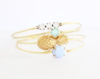 NEW Pineapple Princess Bangle Set, Fruit Bracelet, Beach Bracelet, Tropical Jewelry, Summer Charm Bracelet, Stackable Bangle
