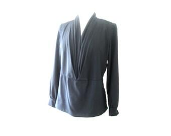 Black Satiny Pleated V Neck Long Sleeve Blouse Size Medium