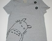 My Neighbor Totoro - Womens XL Gray Shirt - Cat Bus and Soot Sprites