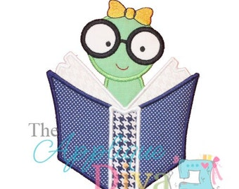 Back to School Girl Bookworm Digital Embroidery Design Machine Applique