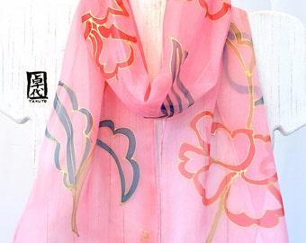 Silk Scarf Handpainted, Silk Scarf Pink, Summer Scarf, Pink Peonies Kimono Scarf, Silk Chiffon Scarf, Silk Scarves Takuyo, 8x54 inches