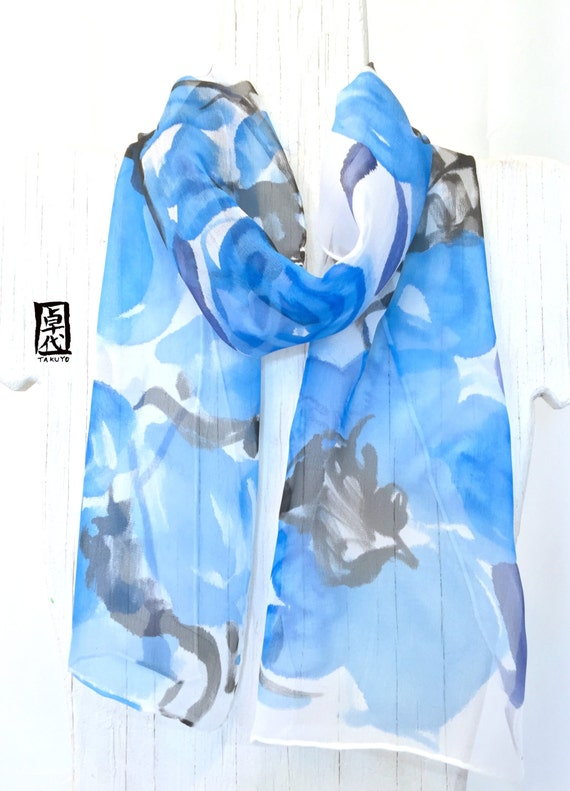 Hand Painted Silk Scarf, Blue and Black Tropical Zen Orchids Scarf, Silk Chiffon Scarf,  Blue Silk Scarf, Silk Scarves Takuyo, 8x54 inches.