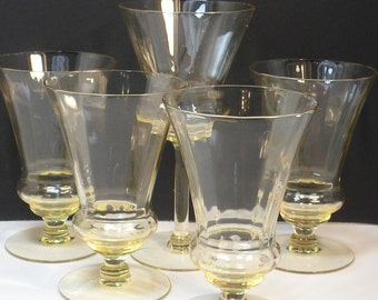 Sale Beverage Glasses Stems Yellow Optic Paneled Glass Vintage Barware Depression Glass