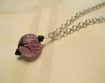 Lampwork Bead Pendant Necklace in Lilac Purple