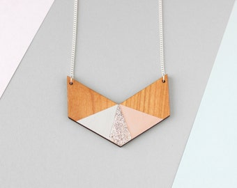 Three Colour Glitter Wooden Chevron Necklace (Pink - Grey - Silver) - Modern Handmade Jewellery
