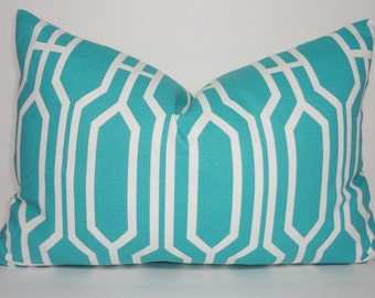 Aqua Blue & White Geometric Print Accent Lumbar Pillow Cover Size 12x18