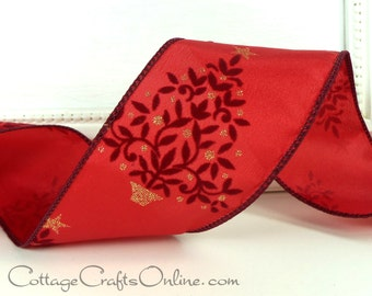 """Christmas Wired Ribbon, 2 1/2"""", Burgundy Flocked Trees, Gold Glitter, Red Satin - THREE YARDS - Offray """"Majestic"""" Wire Edged Ribbon"""