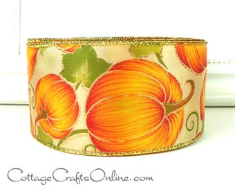 "Fall Wired Ribbon, 2 1/2"", Orange Pumpkins, Gold Glitter - TWENTY FIVE YARDS - Offray ""Pumpkin Patch"" Thanksgiving Wire Edged Ribbon"