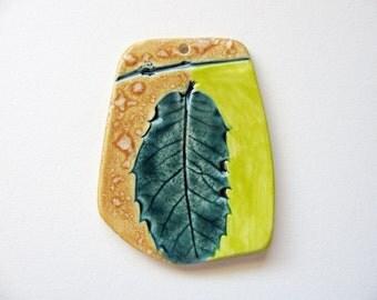 Dewdrop Woodland Leaf Pendant Stoneware Clay