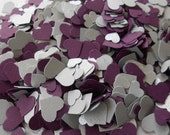 Over 2000 Mini Confetti Hearts. PLUM & SILVER. Weddings, Showers, Decorations. Or Choose Your Colors.