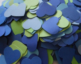 1000 Heart Confetti. 1 Inch. Blues & Greens. Weddings, Showers, Decorations. ANY COLOR Available.