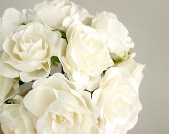 12 Paper Flowers / One Dozen OFF WHITE Roses Artificial Flowers With Wire Stems / Bridal Bouquet / Flower Ball