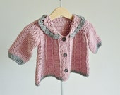 Baby jacket in pink and gray - crochet in organic cotton - baby coat age 6 - 12 months - eco friendly