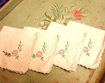 Vintage Antique Luncheon Napkins , Embroidered Irish Linen and Lace
