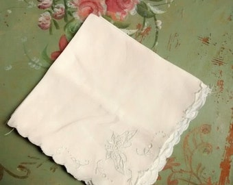 Cottage Chic Blue Flying Butterfly Napkins , Embroidered , Luncheon , Scalloped