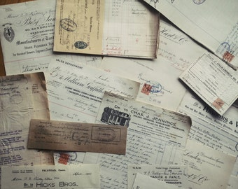 Vintage English Invoices, Paperwork, Bills of Sale etc (10 pcs)