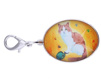 Cat Purse Charm, Cat Handbag Charm , Zipper Charm From My Painting - Yes, Salvador Really Does Paint!