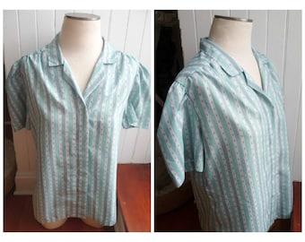 Vintage 1970s Blue Stripe/Diamond Pattern Shirt - M/L