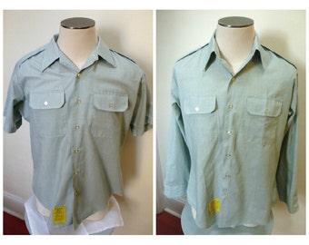 Vintage 1960s Blue/Green Uniform Shirt, Epaulets, Short or Long-Sleeved- L