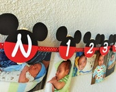 Mickey Mouse Birthday Party -  First Year Photo Clothespin Banner