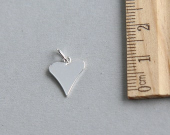 Heart Charm, Sterling Silver Heart Charm, Heart blank Charm, Heart Love Charm, Heart Tag For Engraving, 925 sterling silver,12mm (1 piece)