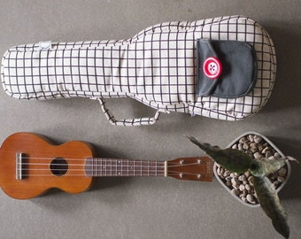 Concert ukulele case - Black and white square pattern  Ukulele Bag (Made to order)