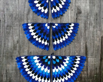 Costume Wings, Blue Jay Wings, Magical Creature Costume, Made from recycled plastic bottles